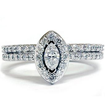 7 / 8ct Marquise diamantes anillo de boda Set 14K oro