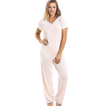 Camille Stylish Full Length Short Sleeve Peach Pyjama Set