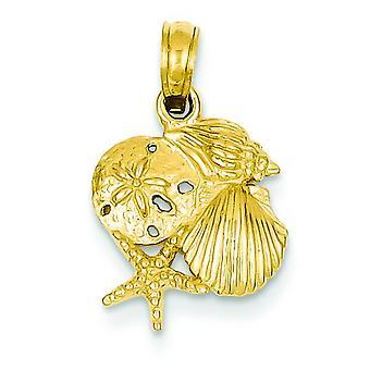 14k amarillo oro sólido pulido Mini para niños o niñas Shell racimo colgante - medidas 19x13mm