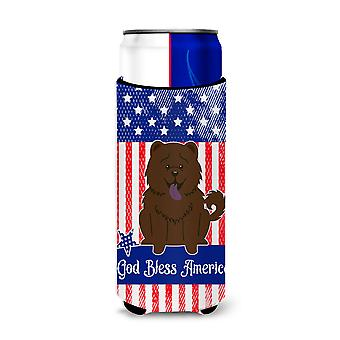 Patriotic USA Chow Chow Chocolate Michelob Ultra Hugger for slim cans