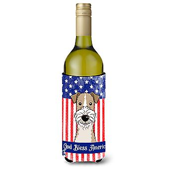 God Bless American Flag with Wire Haired Fox Terrier Wine Bottle beverage Insula