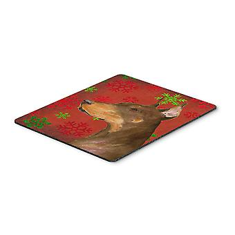 Doberman Red and Green Snowflakes Christmas Mouse Pad, Hot Pad or Trivet