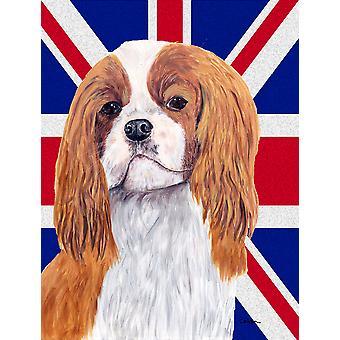 Cavalier Spaniel con dimensione del giardino inglese Union Jack British Flag Bandiera
