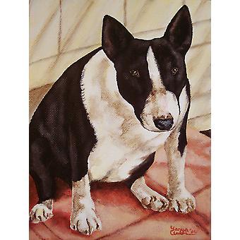 Bull Terrier englische Bully Flagge Leinwandgröße Haus