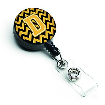 Letter D Chevron Black and Gold Retractable Badge Reel