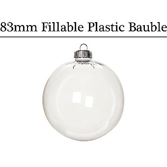 Single 83mm Round Fillable Plastic Christmas Bauble