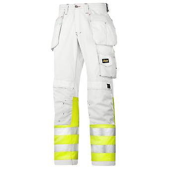 Snickers Hi Vis Painters Trousers with Kneepad & Holster Pockets. Class 1-3234
