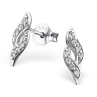 Spiral - 925 Sterling Silver Cubic Zirconia Ear Studs - W21545X