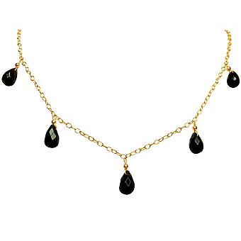 Gemshine - ladies - necklace - gold plated drop - smoky quartz - - faceted - Brown - 50 cm - length adjustable