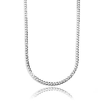 Sterling Silver Rhodium Plated Solid Cuban Curb Link Chain Necklace, 4.8mm