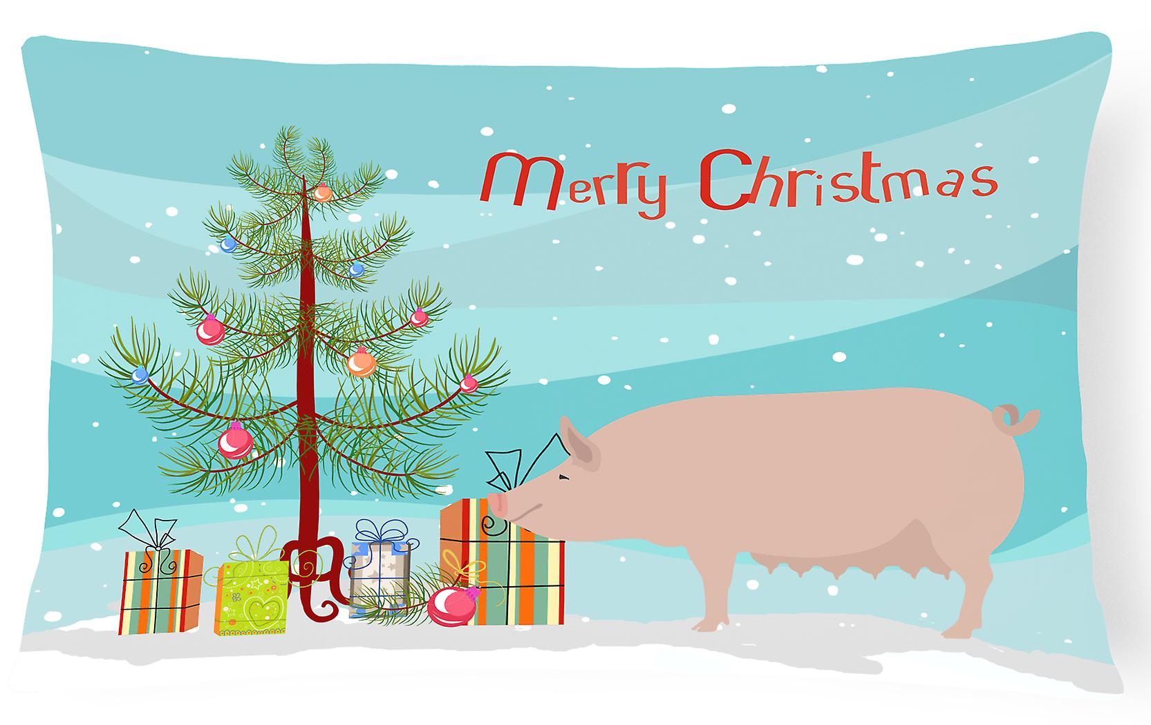 Christmas Pig Canvas Pillow Large Fabric English White Decorative wZkuPXiTO