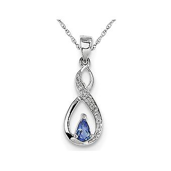 Sterling Silver Tanzanite Infinity Pendant Necklace with Chian 1/5 Carat (ctw)