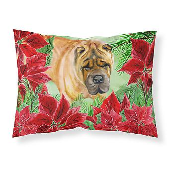 Shar Pei Poinsettas Fabric Standard Pillowcase