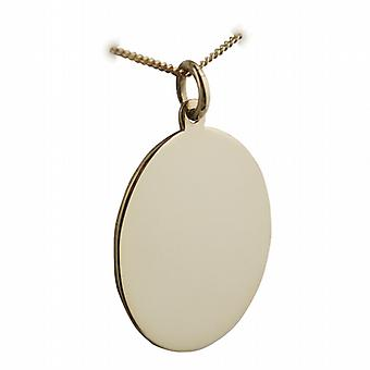 18ct Gold 27x21mm plain oval Disc with a light curb Chain 20 inches