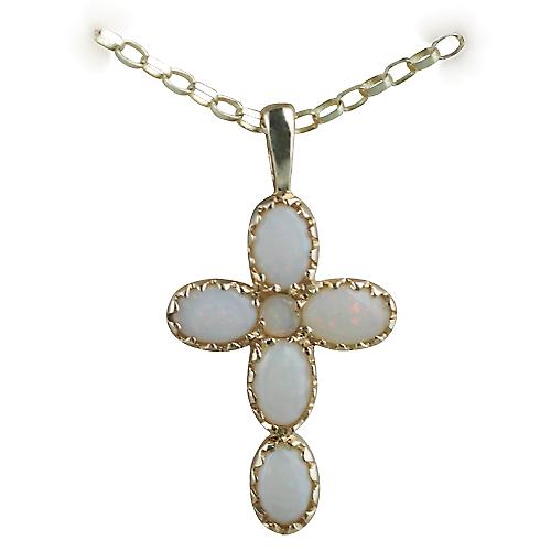 9ct Gold 25x16mm Cross set with Opals on a belcher Chain 16 inches Only Suitable for Children