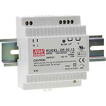 Rail mounted PSU (DIN) Mean Well DR-30-15 15 Vdc 2 A 30 W 1 x