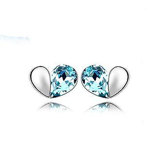 Sky Blue Love Heart Stud Earrings Crystal Silver Jewellery