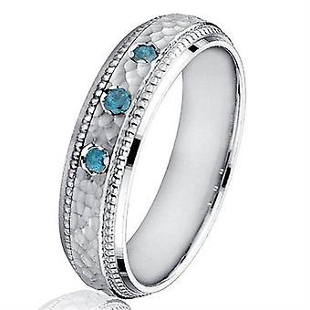 Mens Blue Diamond gehamerd 10K White Gold Wedding Band