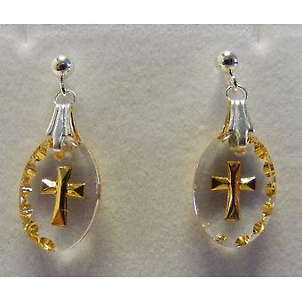 Hand Painted Mini Oval Cross Crystal Earrings