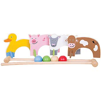 Bigjigs Toys Wooden Farm Animal Croquet Game Play Set Indoor Outdoor