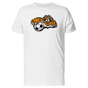 Tiger Mascot With Soccer Ball Tee Men's -Image by Shutterstock