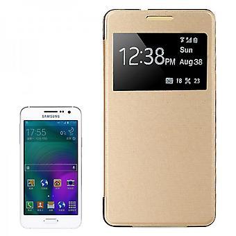 Finestra di copertura intelligente gold per Samsung Galaxy A3 A300 A300F