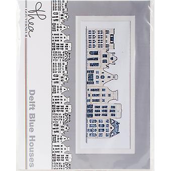 Delft Blue Houses On Aida Counted Cross Stitch Kit-10.5