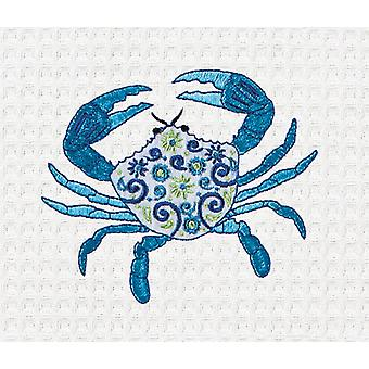 Meridian Blue Crab Embroidered Kitchen Waffle Weave Cotton Towel 27 Inch