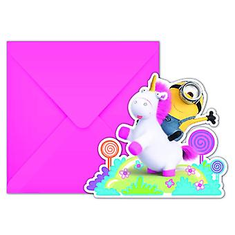 Fluffy minions party invitation cards of invitations minions Unicorn party kids birthday 6 pieces