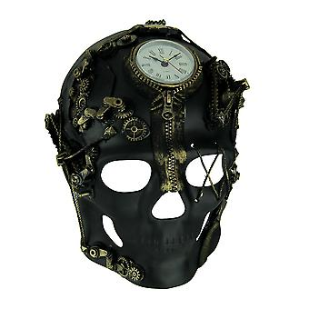 Shaima gardien du temps Steampunk crâne masque avec horloge