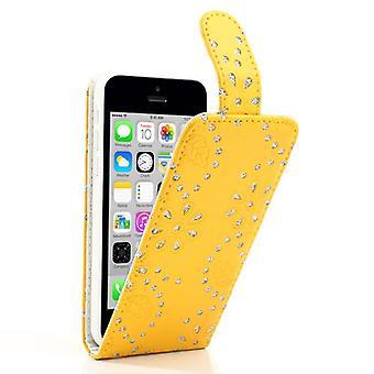 Schutzhülle Handy Case für Handy Apple iPhone 5c Strass Gelb