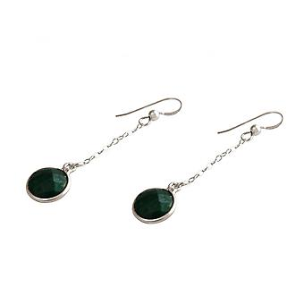 Ladies - earrings - earrings - 925 Silver - emerald - green - 2 cm