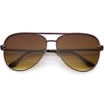 Classic Oversize Metal Aviator Sunglasses Brown Flat Lens 54mm