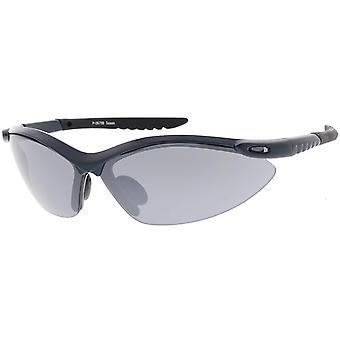 TR 90 半縁なしスポーツ ラップ サングラス リブ腕スモーク レンズ 74 mm