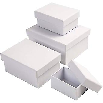 4 White Paper Mache Rectangular Stacking Boxes to Decorate 14x12x7cm