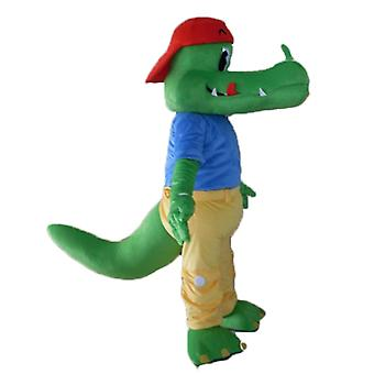 mascot SPOTSOUND of green crocodile dressed in yellow and blue