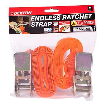 Dekton 2pc eindeloze Ratchet Tie-Down riem Set van 25 mm X 5mfoot Cam gesp