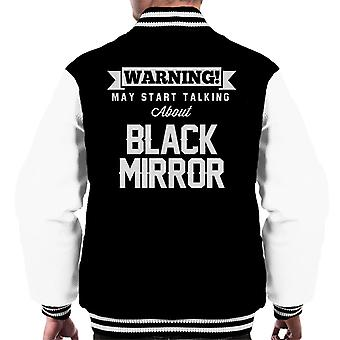 Warning May Start Talking About Black Mirror Men's Varsity Jacket