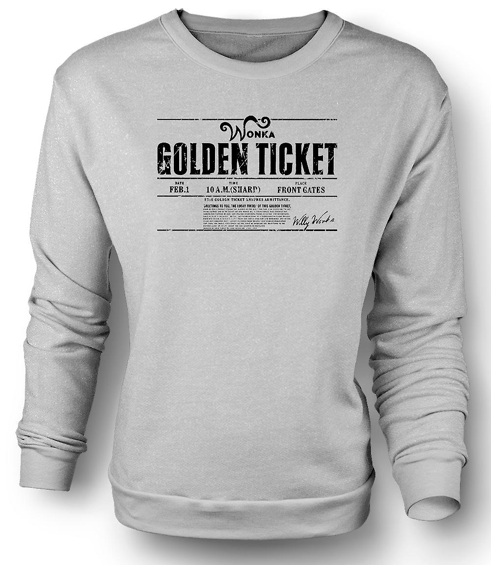 Mens Sweatshirt Willy Wonkas Ticket - film - BW - drôle