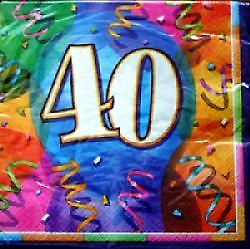 40th Birthday Jubilee Party Napkins Contains 16. 3-ply Napkins