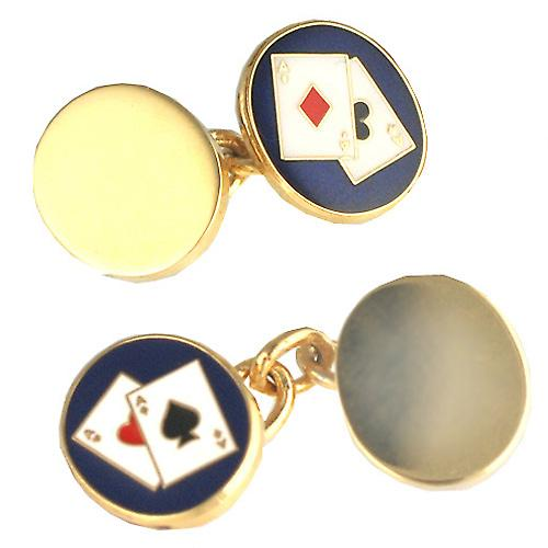Hard Gold Plated 14x12mm oval Poker chain Cufflinks