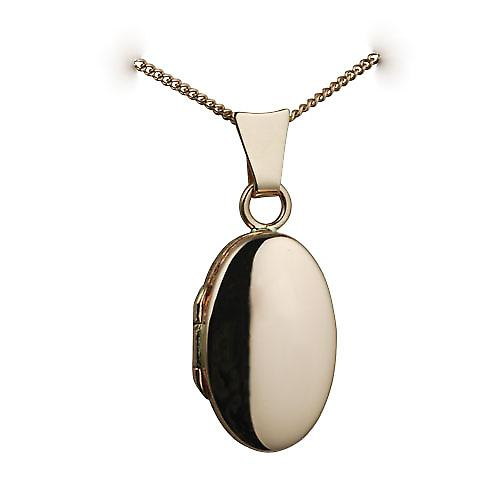 9ct Rose Gold 18x11mm plain oval Locket with a curb chain