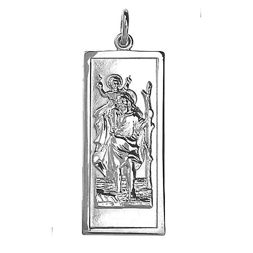 Silver 35x15mm rectangular St Christopher Pendant