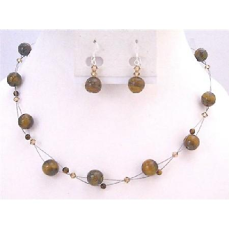 Floating Illusion Necklace Set Genuine Swarovski Lite Colorado Crystals With Tiger Eye Glass Beads Under $15 Jewelry Set