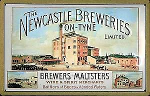 Newcastle Breweries embossed steel sign