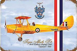 Tiger Moth RAF Cranwell rusted metal sign  (pst 1812)