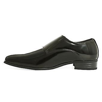 Dobell Mens schwarz Doppel Mönch Kleid Schuhe Patent