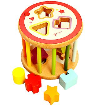 Classic World - Rolling Wooden Shape Sorter, Educational Geometric Shape Puzzle for Kids