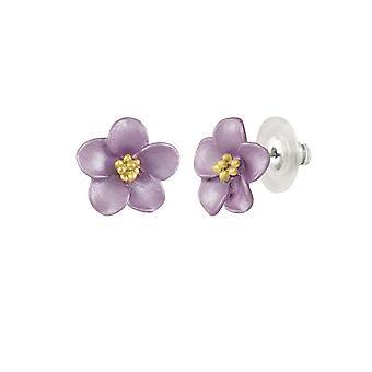 Eternal Collection Anemone Lilac Enamel Gold Tone Stud Pierced Earrings