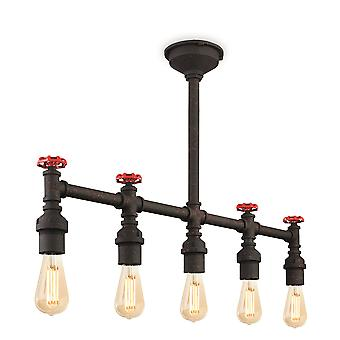 Firstlight-5 ljus semi Flush ljus rustik svart-7637RBK